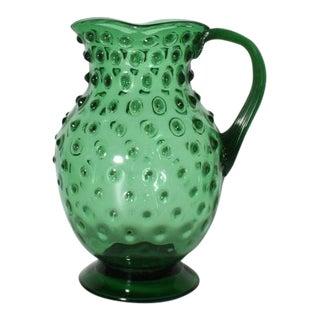 Green Murano Glass Pitcher, C. 1940 For Sale