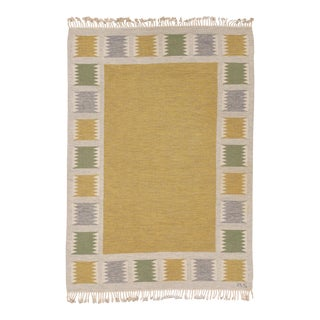 """Mid 20th Century Swedish Flat Weave Rug - 5'5"""" X 7'7"""" For Sale"""