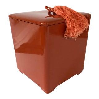 Vintage Burnt Sienna Ice Bucket With Tassel For Sale