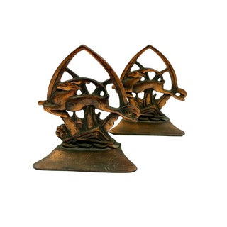 Vintage Copper & Brass Jumping Gazelle Spade Bookends - a Pair For Sale