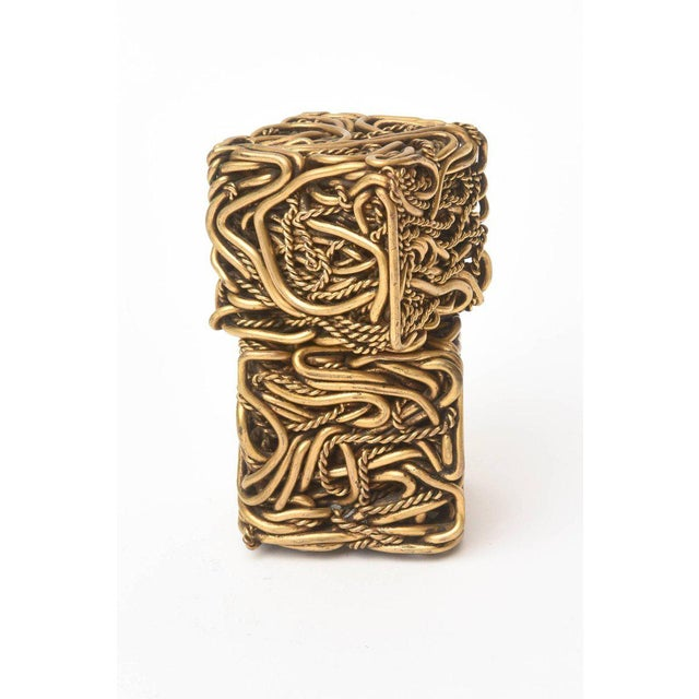 Abstract Pair of Signed Yasca Bronze Twisted Square Cube Sculptures For Sale - Image 3 of 11