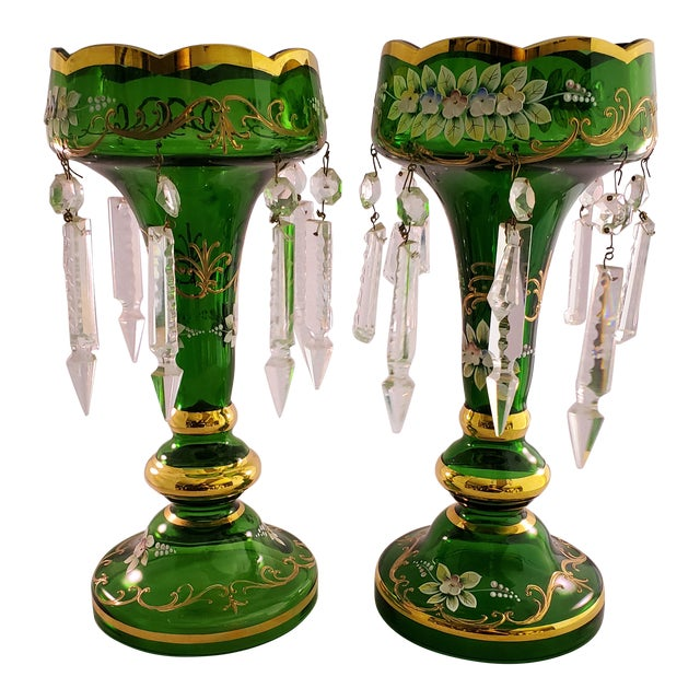 Vintage Green Glass Painted Luster Candle Holders With Prisms - a Pair For Sale