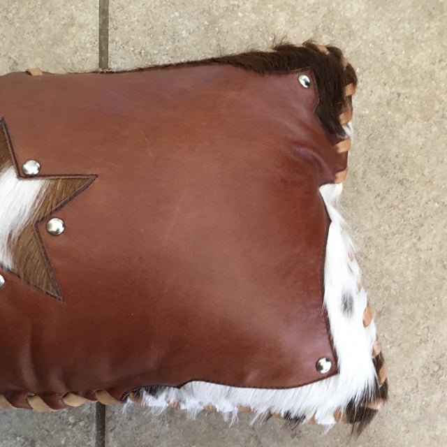 Handmade Leather & Cowhide Lumbar Texas Pillow For Sale - Image 5 of 11