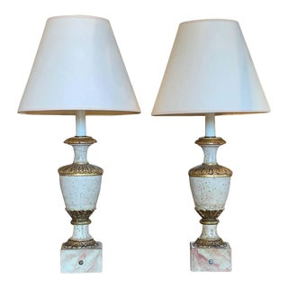 Pair of 19th Century Italian Wood Urn Shaped Table Lamps For Sale