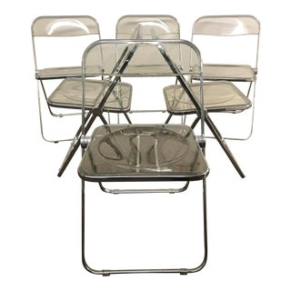 1970s Vintage Anonima Castelli Lucite Chrome Folding Chairs- Set of 6 For Sale