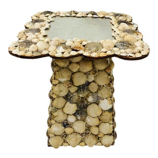 Antique Handmade Seashell Sculpture Side Table For Sale