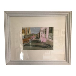 """""""Cuba"""" Contemporary Architectural Cityscape Oil Painting, Framed For Sale"""