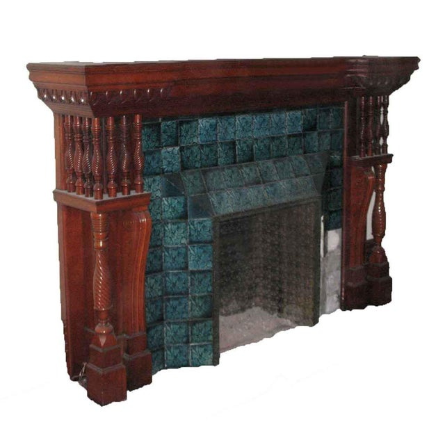 This stately mantel with spindle motif was the main mantel in a mansion. It features its original finish and is in...