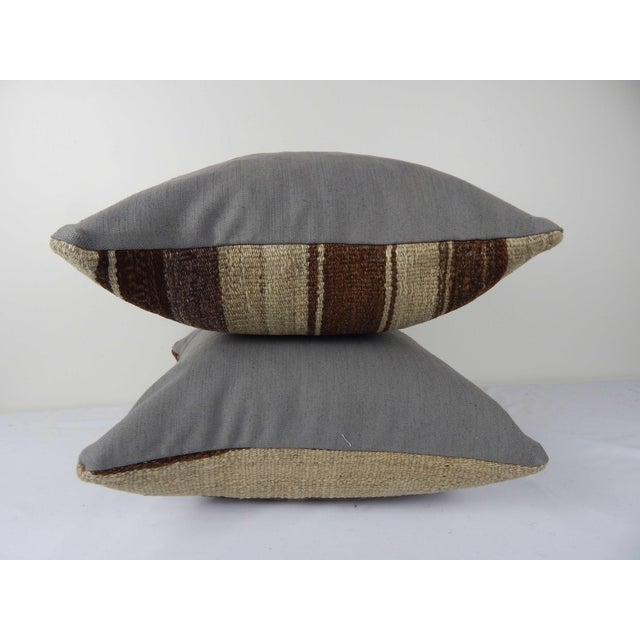 """Set of Two Turkish Hemp Kilim Pillow 18"""" X 18"""" For Sale - Image 4 of 6"""