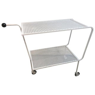 Modern Wrought Iron Bar Cart in the Attributed to Salterini For Sale
