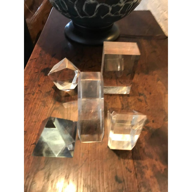 Transparent Set of Five Lucite Decorative Geometric Sculptures For Sale - Image 8 of 11