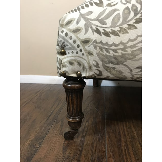 American Reupholstered Antique Tan Ottoman For Sale - Image 3 of 6