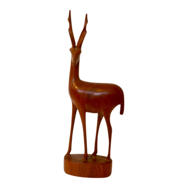 Mid Century Modern Teak Carved Gazelle Statue For Sale