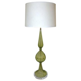1960s Hollywood Regency Barbini Green Murano Table Lamp