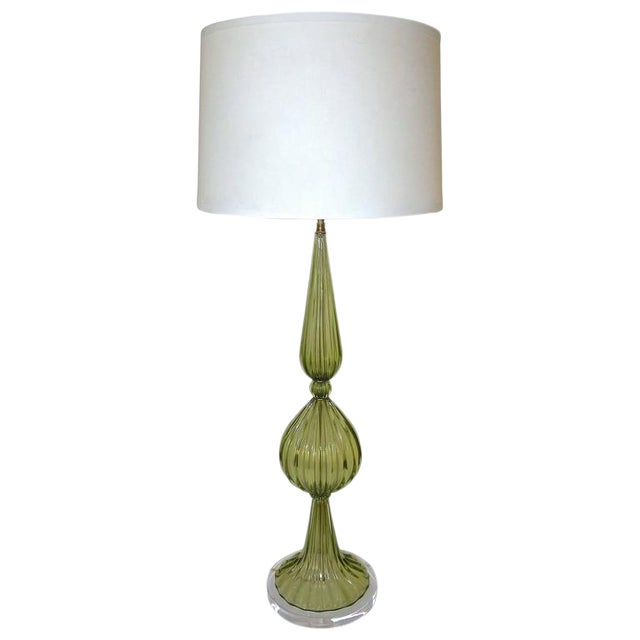 1960s Hollywood Regency Barbini Green Murano Table Lamp For Sale