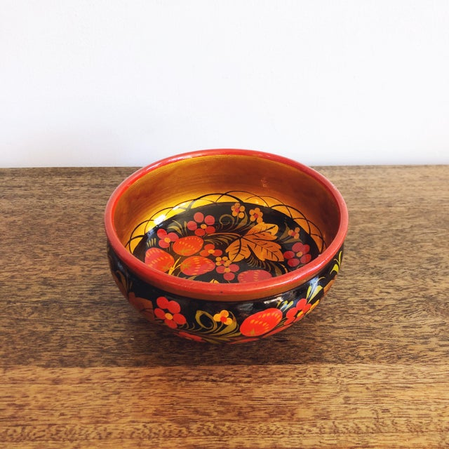 Folk Art Russian Lacquerware Painted Bowl For Sale - Image 3 of 8