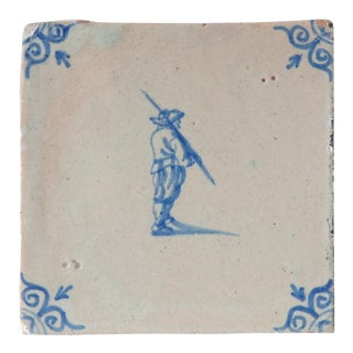 17th Century Antique Delft Porcelain Blue & White Tile For Sale