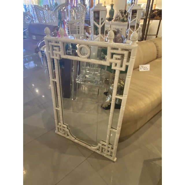Glass Vintage Chinese Chippendale White Faux Bamboo Greek Key Wall Mirror For Sale - Image 7 of 12
