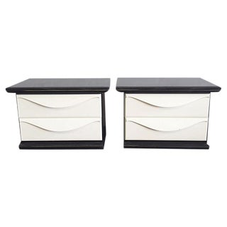 Black & White Lacquered Nightstands - A Pair