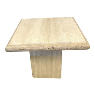 Late 20th Century Italian Travertine End Table For Sale