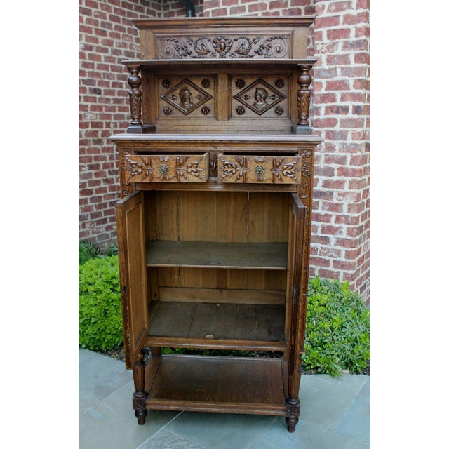 Antique French Oak 19th Century Renaissance Revival Gothic Vestry Sacristy Wine Altar Cabinet Bookcase For Sale - Image 9 of 13