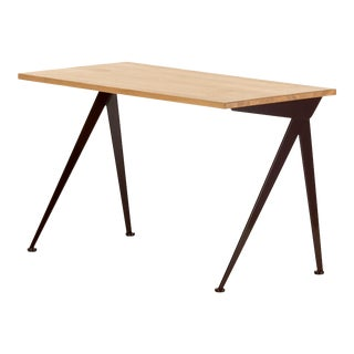 Jean Prouvé Compas Direction Desk in Natural Oak and Brown Metal for Vitra For Sale