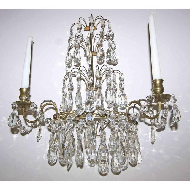 1920s 1920s Swedish Gustavian Style Crystal and Brass Candle Wall Sconces - a Pair For Sale - Image 5 of 11