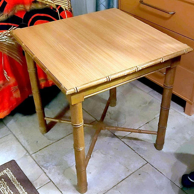 Vintage Aesthetic Movement R J Horner Wood Formica Topped Faux Bamboo Rattan Side Table For Sale In Palm Springs - Image 6 of 8