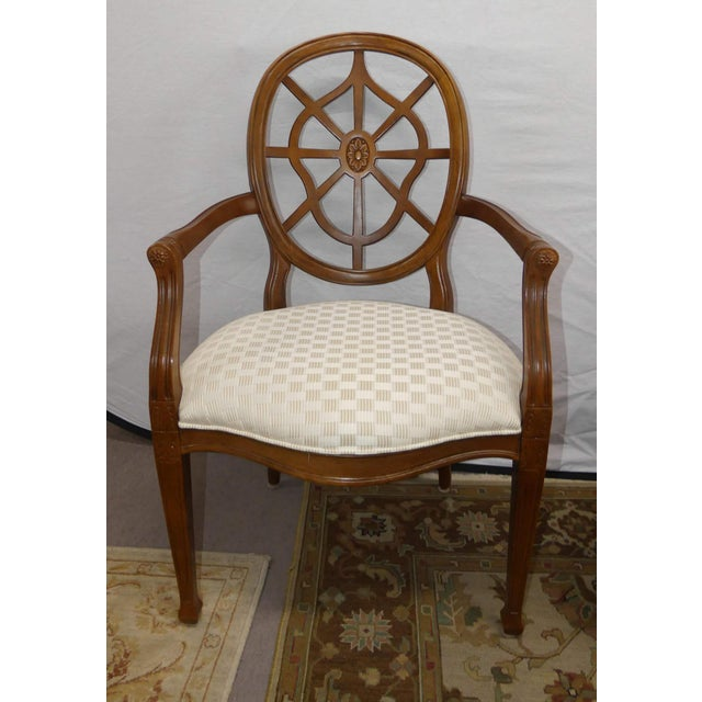 Set of 4 spider-web style back armchairs by Century Furniture. Features a contemporary take on the typical spider-web...