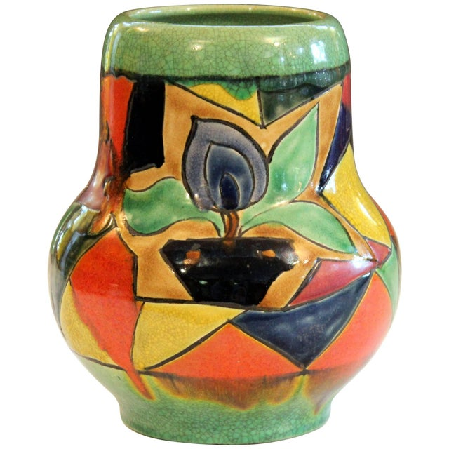 Awaji Pottery Art Deco Japanese Mock Cubist Fractured Picture Plane Vase Signed For Sale - Image 10 of 10