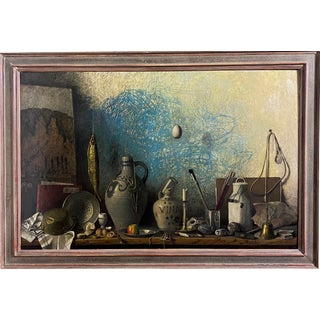 Vintage Still Life With Hanging Egg Oil Painting by Robert Knaus, Framed For Sale