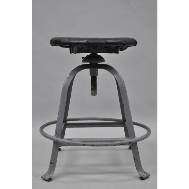 Metal Antique American Industrial Grey Steel Metal Adjustable Work Stool For Sale - Image 7 of 10
