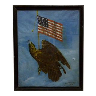 "Vintage 1940s A.M. Antoniades Original Framed Painting ""American Eagle and Us Flag"""