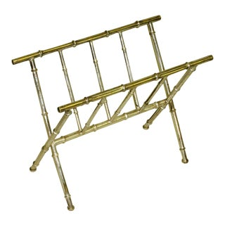 French Mid-Century Modern Nickeled Brass Faux Bamboo Magazine Stand by Bagues