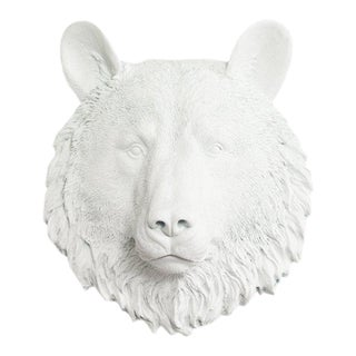 Wall Charmers Faux White Mini Bear Head Wall Sculpture For Sale