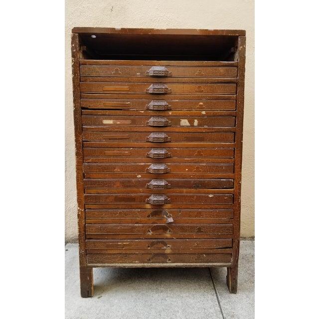 Industrial Vintage Industrial Primitive Flat File Letterpress Cabinet For Sale - Image 3 of 3