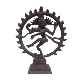 Vintage Brass Dancing Shiva Statue Hindu Diety For Sale