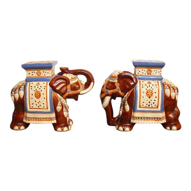 Ceramic Elephant Garden Stools or Drink Tables - A Pair - Image 1 of 11
