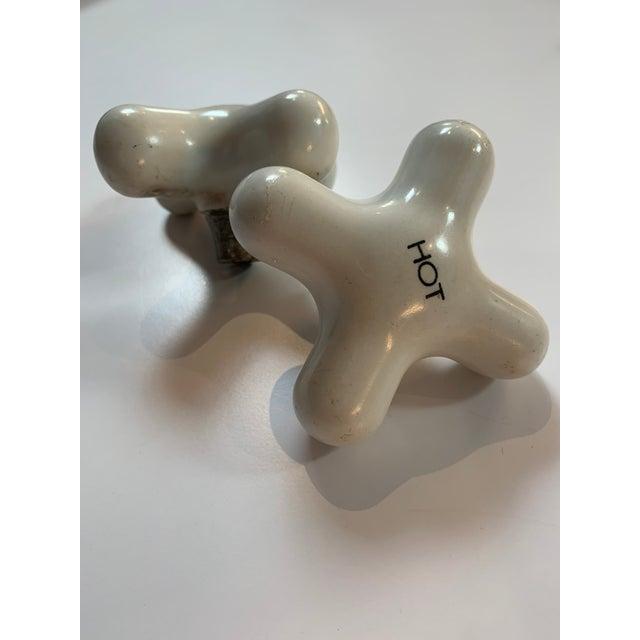 Vintage Ceramic Faucet Knob Set For Sale - Image 9 of 12
