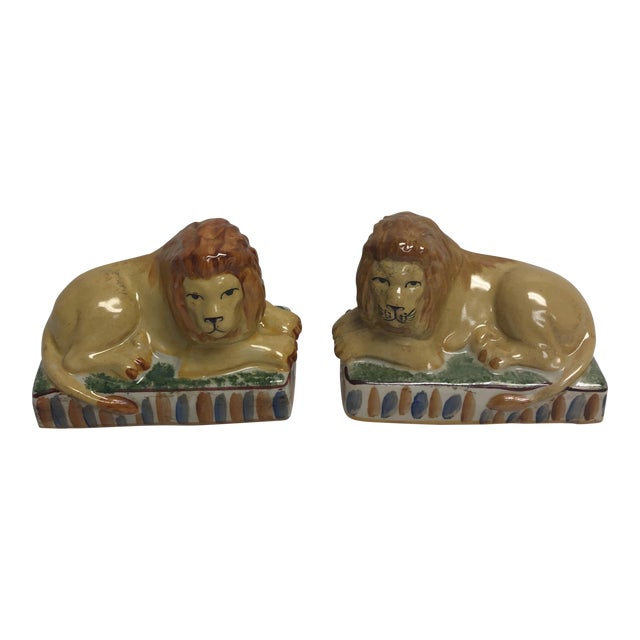 Staffordshire Style Ceramic Lion Figurines- a Pair For Sale