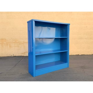 1960s Steel Tanker Style Bookcase in Bright Blue, Custom Refinished Preview