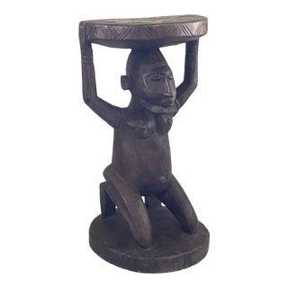 "Vtg African Dogon Carved Wood Stool W/ Ancestor Mali 19"" H For Sale"