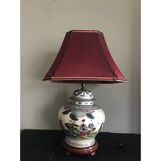 Antique Rare Chinoiserie Hand Painted Ginger Jar Lamp For Sale - Image 12 of 13