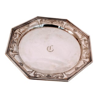 Vintage Holloware Repousse Sterling Dominick and Haff Silver Tray Platter For Sale