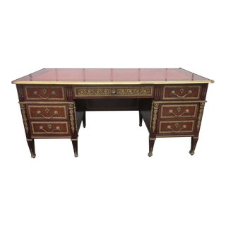 French Empire Style Desk with Leather Top For Sale
