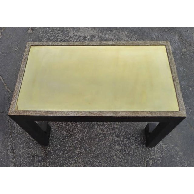 Distressed Greek Key Tables With Brass Metal Inset - Pair For Sale In Los Angeles - Image 6 of 9