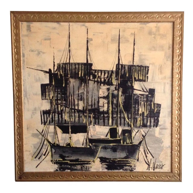 Mid-Century Asian Ship Painting - Image 1 of 6