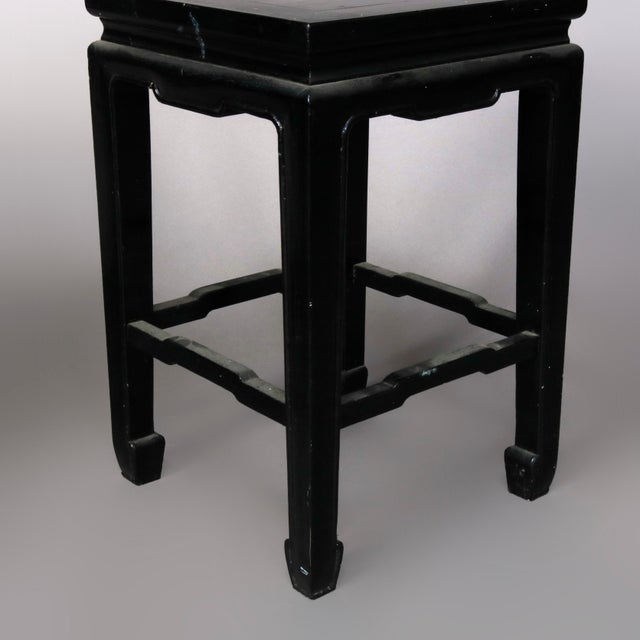 Mid 20th Century Vintage Black Lacquered Chinese Side Stands, 20th Century - Set of 4 For Sale - Image 5 of 13