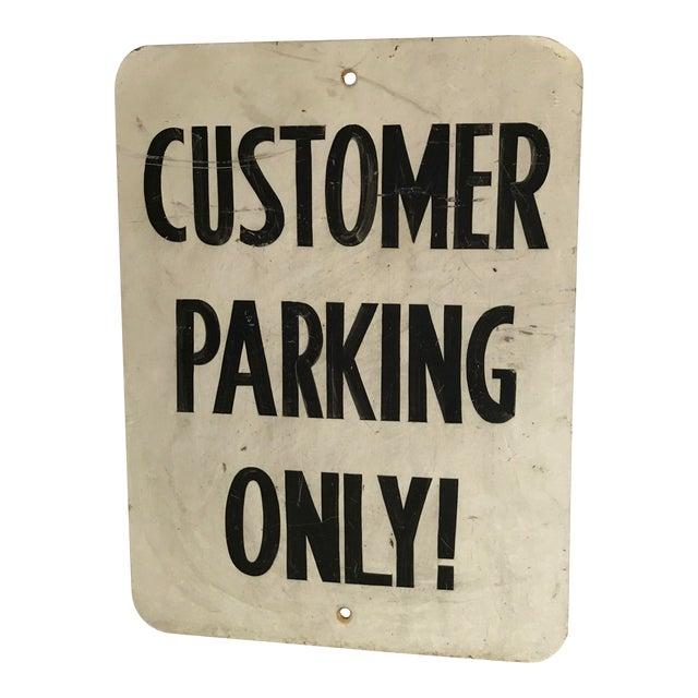 """Vintage """"Customer Parking Only"""" Metal Sign For Sale"""
