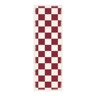 Red & White English Checkered Rug - 2' X 6'